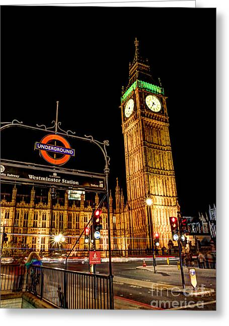 Clock Greeting Cards - London Scene 2 Greeting Card by Jasna Buncic
