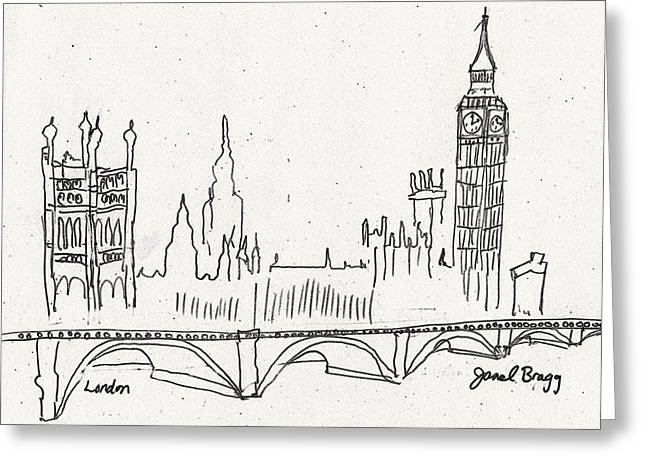 Famous Bridge Mixed Media Greeting Cards - London Sketch Greeting Card by Janel Bragg