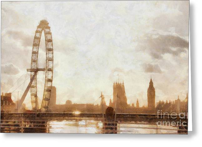 Pixel Chimp Greeting Cards - London skyline at dusk 01 Greeting Card by Pixel  Chimp