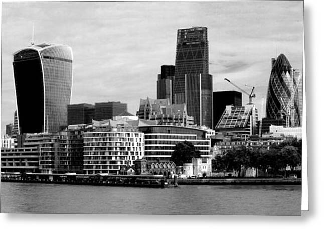 Merged Photographs Greeting Cards - London Skyline Cityscape bw Greeting Card by David French