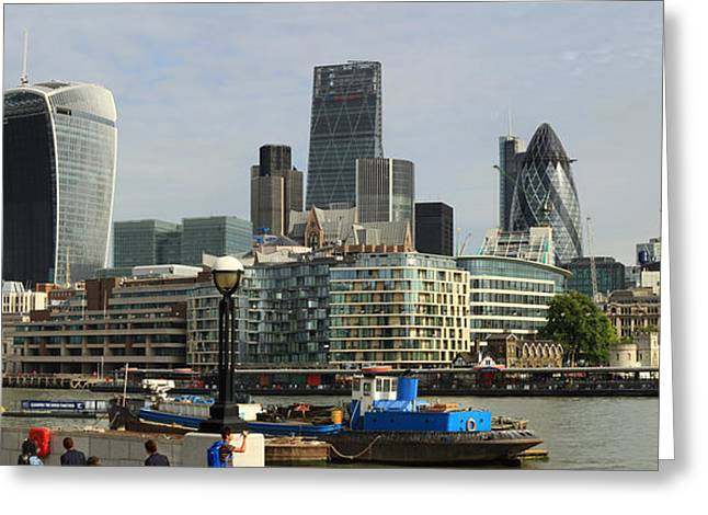 Merged Photographs Greeting Cards - London Skyline Cityscape Greeting Card by David French