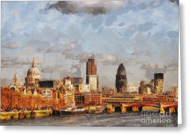 Fog Mist Mixed Media Greeting Cards - London Skyline from the river  Greeting Card by Pixel Chimp