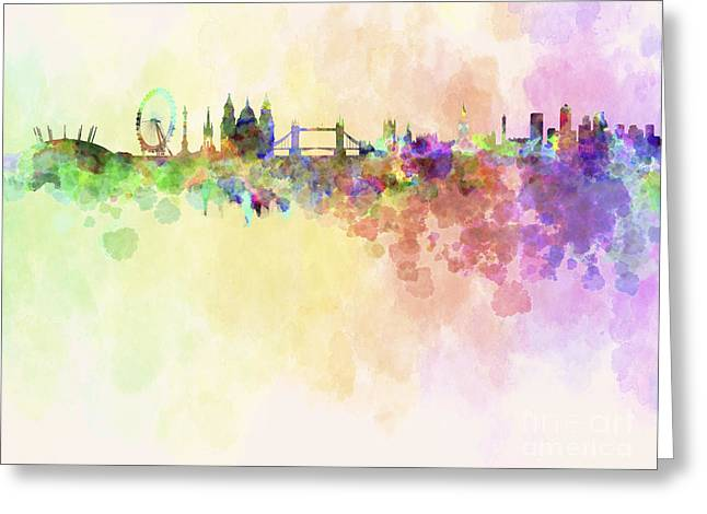 Color Splash Greeting Cards - London skyline in watercolour background Greeting Card by Pablo Romero