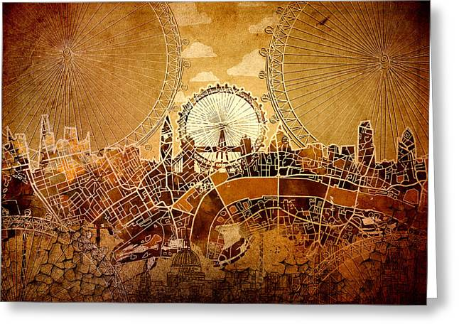 Urban Buildings Digital Greeting Cards - London Skyline Old Vintage  Greeting Card by MB Art factory