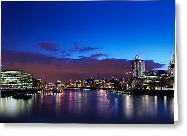 Place Of Business Greeting Cards - London skyline panorama at night Greeting Card by Michal Bednarek