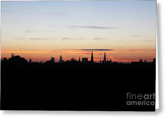 Rare Moments Greeting Cards - London Skyline Sunrise Greeting Card by Graeme Voigt
