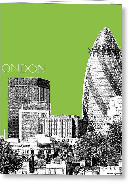 Olive Green Digital Art Greeting Cards - London Skyline The Gherkin Building - Olive Greeting Card by DB Artist