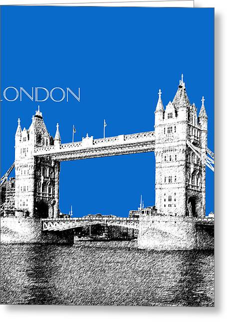 Waterfront Digital Greeting Cards - London Skyline Tower Bridge - Blue Greeting Card by DB Artist