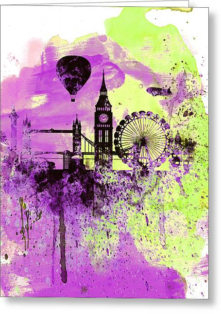 Thames River Greeting Cards - London Skyline Watercolor 1 Greeting Card by Naxart Studio