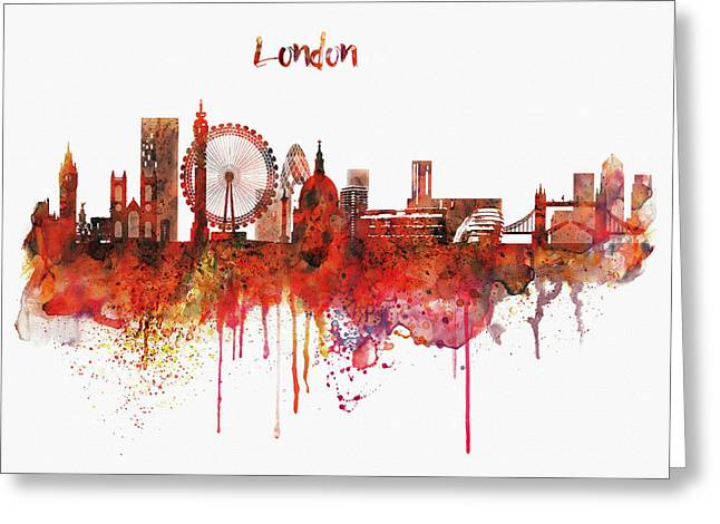 For Modern Decor Greeting Cards - London Skyline watercolor Greeting Card by Marian Voicu