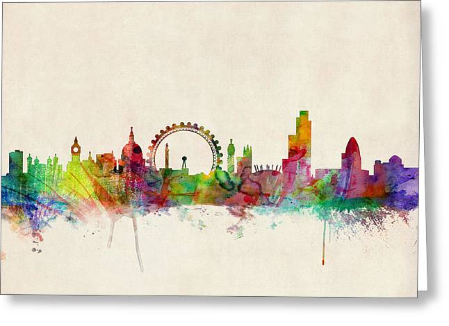 Urban Watercolour Greeting Cards - London Skyline Watercolour Greeting Card by Michael Tompsett