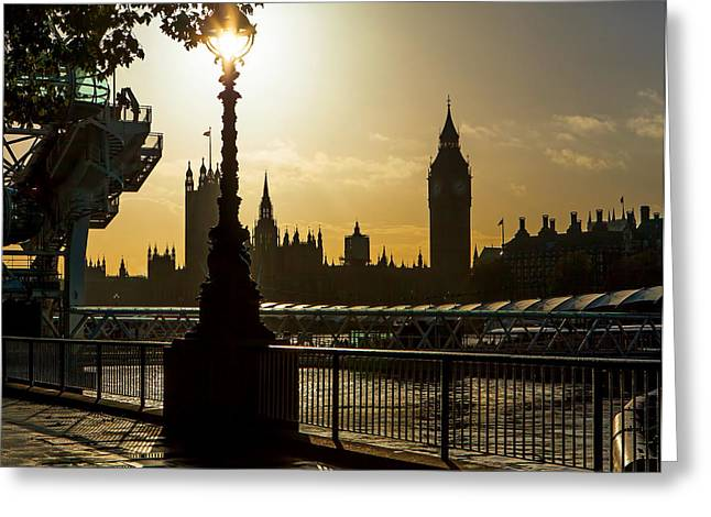South Bank Greeting Cards - London South Bank in Silhouette Greeting Card by Susan  Schmitz