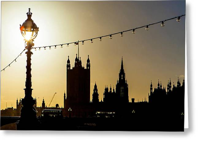 Famous Silhouettes Greeting Cards - London South Bank Silhouette Greeting Card by Susan  Schmitz