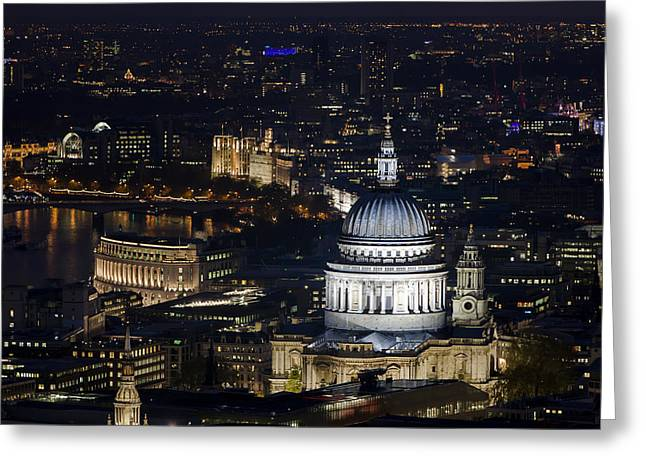 From The Dome Greeting Cards - London St Pauls at night colour Greeting Card by Andy Myatt