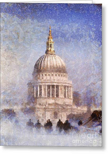 Pixel Chimp Greeting Cards - London St Pauls fog 02 Greeting Card by Pixel Chimp