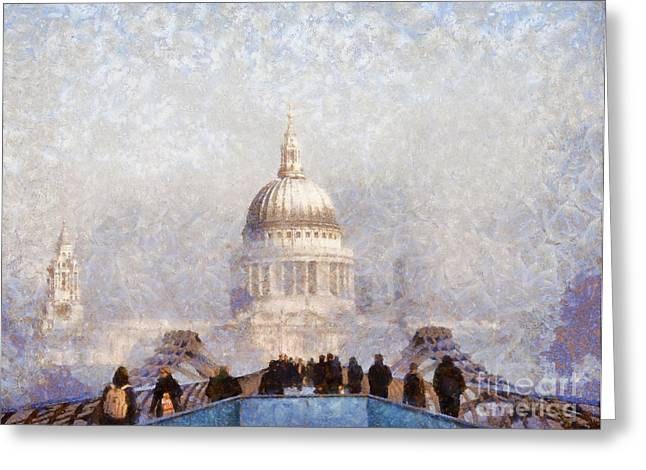 London St Pauls in the fog Greeting Card by Pixel  Chimp