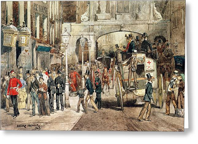 53 Greeting Cards - London Street, 1869 Wc On Paper Greeting Card by Jean-Baptiste Edouard Detaille