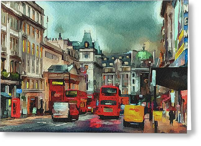 Old Town Digital Art Greeting Cards - London streets 2 Greeting Card by Yury Malkov