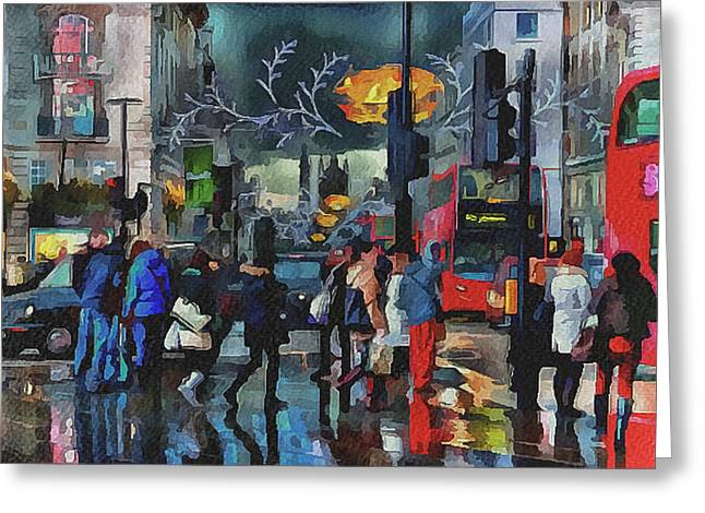 Old Town Digital Art Greeting Cards - London Streets 3 Greeting Card by Yury Malkov