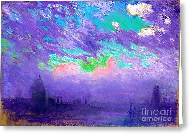 City Art Greeting Cards - London Sunset 1880 Greeting Card by Padre Art
