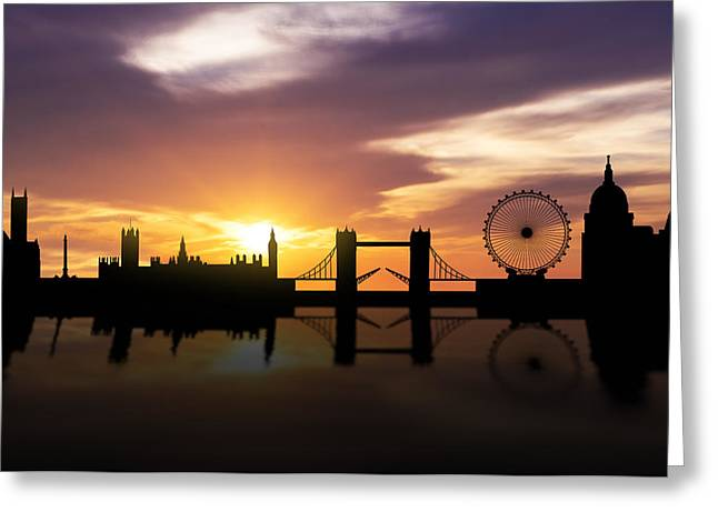 Buckingham Palace Greeting Cards - London Sunset Skyline  Greeting Card by Aged Pixel