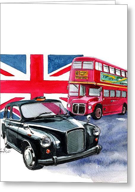 Double Decker Greeting Cards - London Taxi and London Bus Greeting Card by Yoshiharu Miyakawa