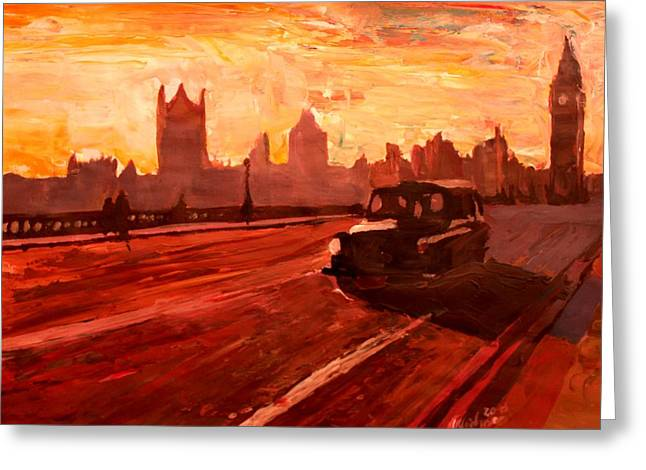 London Taxi Big Ben Sunset With Parliament Greeting Card by M Bleichner