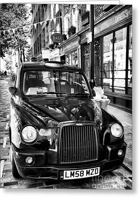 White Decor Posters Greeting Cards - London Taxi Greeting Card by John Rizzuto