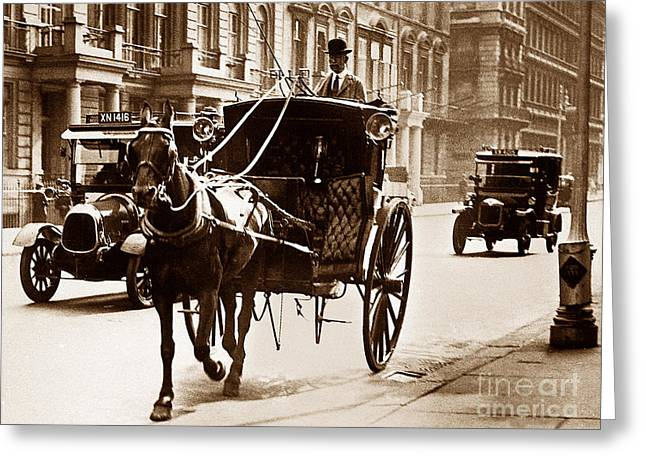 Hansom Cab Greeting Cards - London Taxis England Greeting Card by The Keasbury-Gordon Photograph Archive