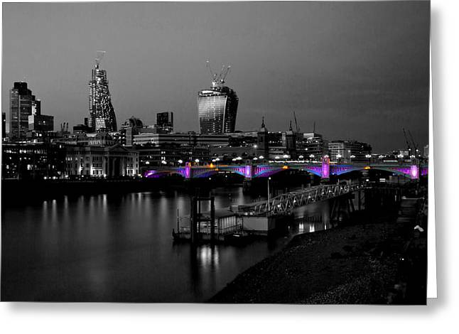 London Thames Bridges Bw Greeting Card by David French