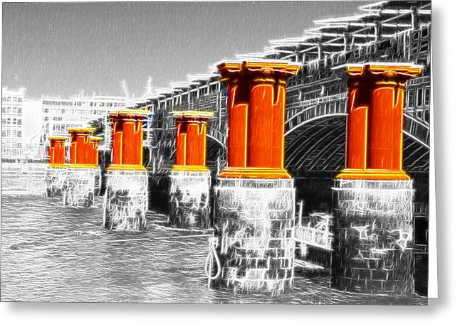 Chelsea Greeting Cards - London Thames Bridges Fractals Greeting Card by David French