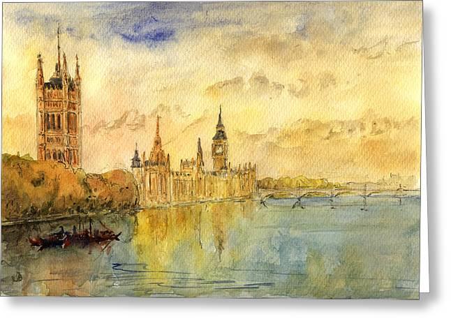 London Thames River Greeting Card by Juan  Bosco