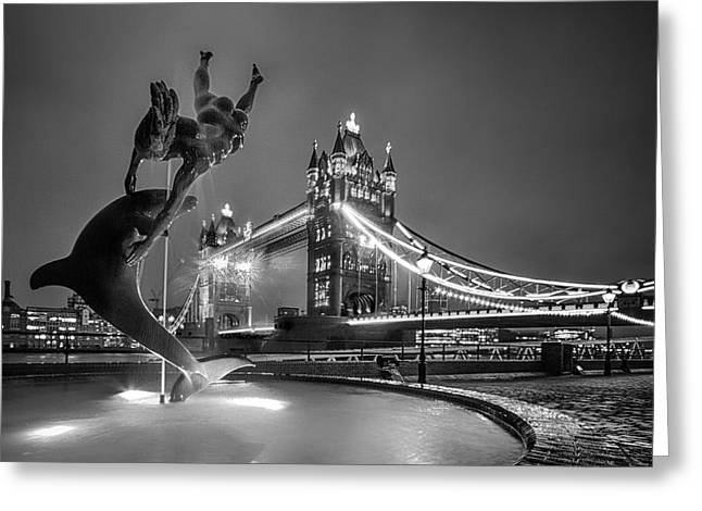London Tower Bridge And Dolphin In Mono Greeting Card by Ian Hufton