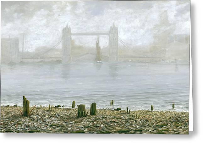 Eric Bellis Greeting Cards - London Tower Bridge at Low Tide Greeting Card by Eric Bellis