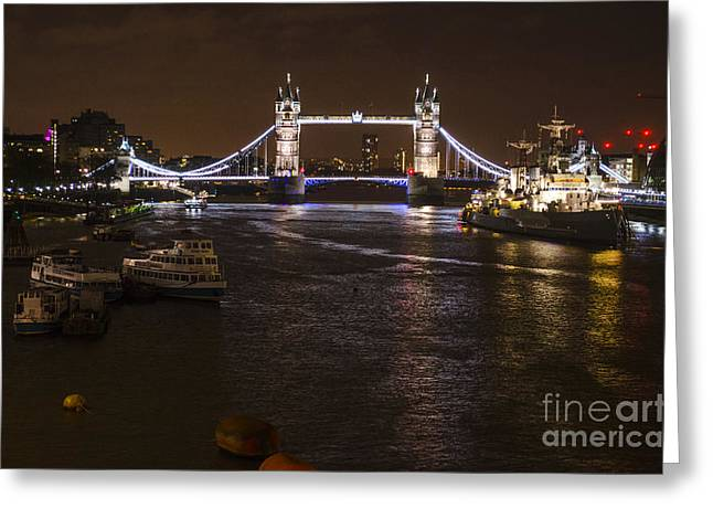 Urban Images Greeting Cards - London Tower Bridge by Night Greeting Card by Deborah Smolinske