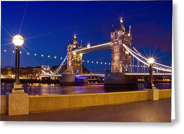 Night Lamp Digital Art Greeting Cards - LONDON - Tower Bridge by Night Greeting Card by Melanie Viola