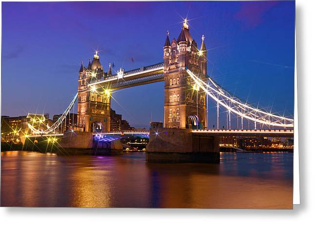 Night Lamp Digital Art Greeting Cards - London - Tower Bridge during Blue Hour Greeting Card by Melanie Viola