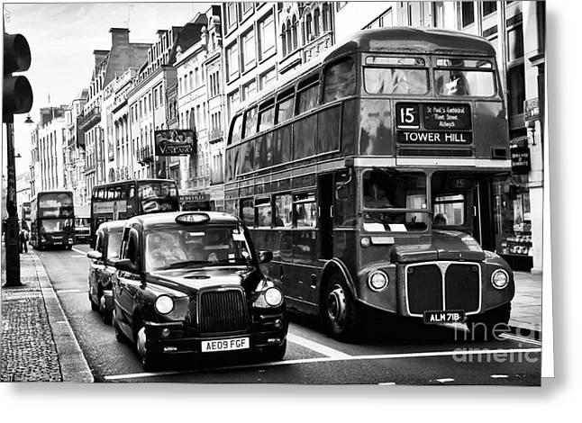 School Bus Print Greeting Cards - London Traffic Greeting Card by John Rizzuto