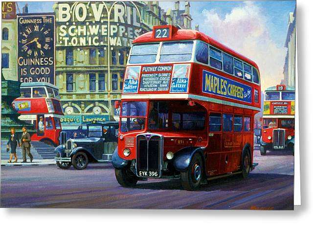 Streetscenes Paintings Greeting Cards - London Transport RT1. Greeting Card by Mike  Jeffries