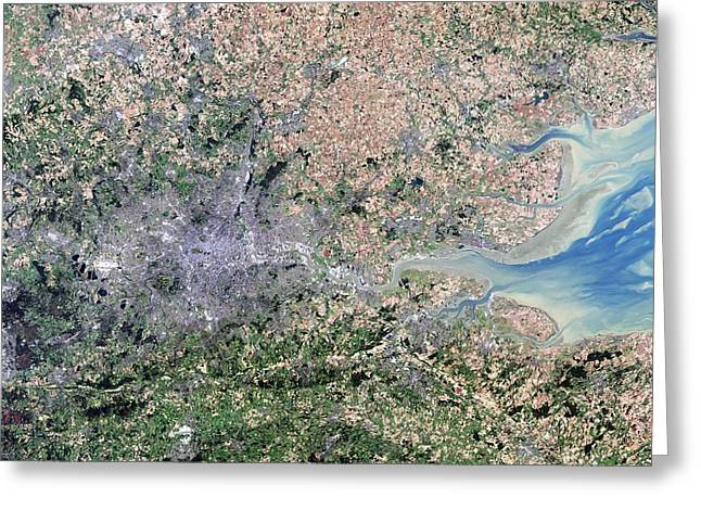 Land Use Greeting Cards - London, true-colour satellite image Greeting Card by Science Photo Library