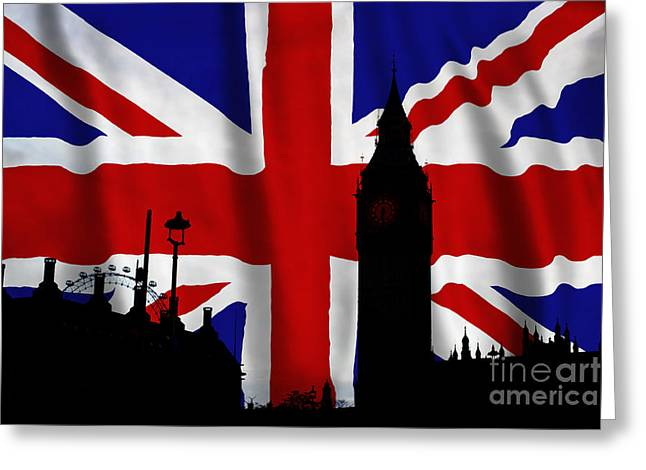 Silhouette Digital Art Greeting Cards - London Union Jack Montage Greeting Card by Tim Gainey