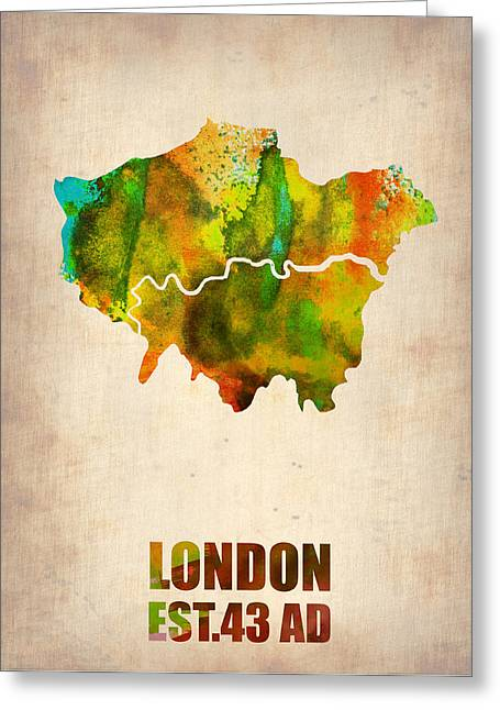 London City Map Greeting Cards - London Watercolor Map 1 Greeting Card by Naxart Studio