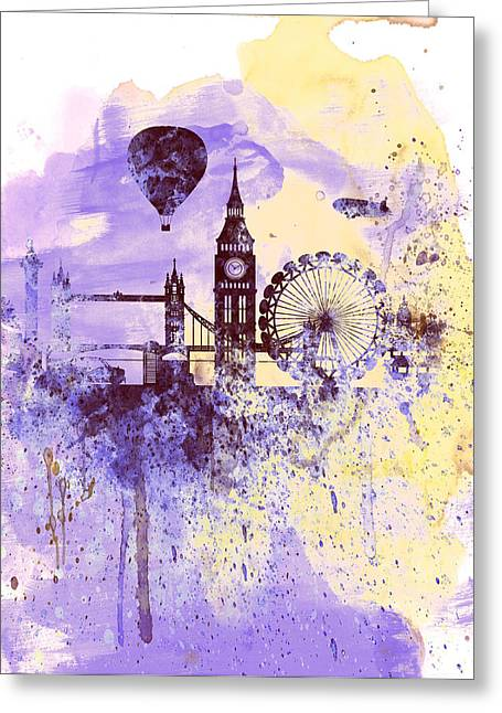 Thames River Greeting Cards - London Watercolor Skyline Greeting Card by Naxart Studio