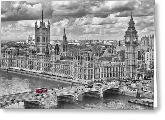 Clock Greeting Cards - London Westminster Greeting Card by Melanie Viola
