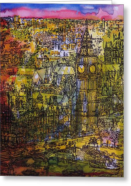 Palace Of Westminster Greeting Cards - London, Westminster Pen & Ink With Wc On Paper Greeting Card by Brenda Brin Booker