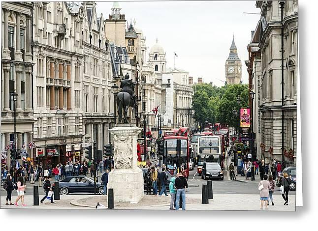 Trafalgar Greeting Cards - London Whitehall Greeting Card by Chevy Fleet
