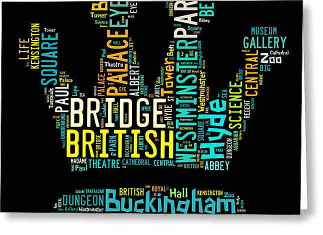 Dungeons Greeting Cards - London word art cloud Greeting Card by Nelieta Mishchenko