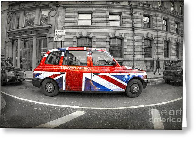 English Car Greeting Cards - Londons Calling Greeting Card by Evelina Kremsdorf