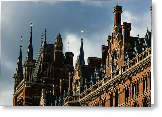 Weathervane Greeting Cards - Londons Eurostar Train Station St Pancras - a Remarkable Victorian Gothic Revival Building Greeting Card by Georgia Mizuleva
