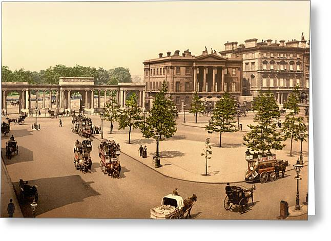 1880s Photographs Greeting Cards - Londons Hyde Park circa 1895 Greeting Card by Mountain Dreams